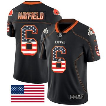 Nike Browns #6 Baker Mayfield Black Men's Stitched NFL Limited Rush USA Flag Jersey