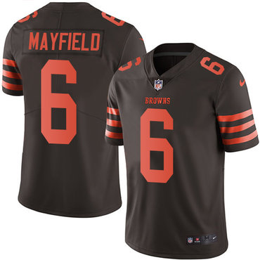 Nike Browns #6 Baker Mayfield Brown Youth Stitched NFL Limited Rush Jersey