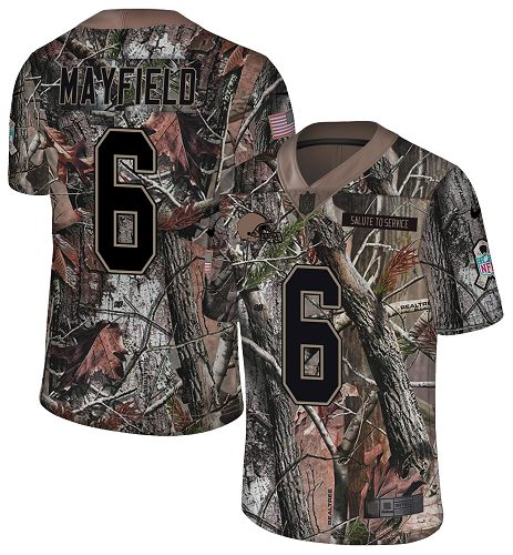 Nike Browns #6 Baker Mayfield Camo Men's Stitched NFL Limited Rush Realtree Jersey