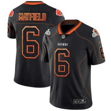 Nike Browns #6 Baker Mayfield Lights Out Black Men's Stitched NFL Limited Rush Jersey