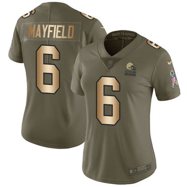 Nike Browns #6 Baker Mayfield Olive Gold Women's Stitched NFL Limited 2017 Salute to Service Jersey