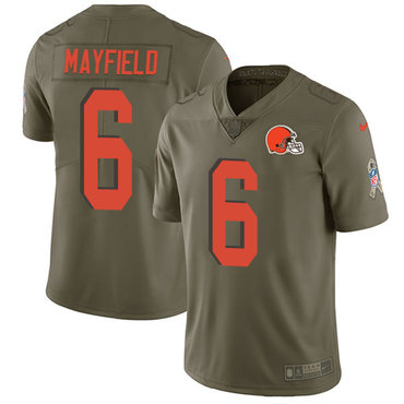 Nike Browns #6 Baker Mayfield Olive Men's Stitched NFL Limited 2017 Salute To Service Jersey