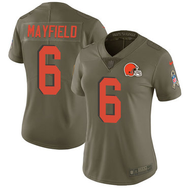 Nike Browns #6 Baker Mayfield Olive Women's Stitched NFL Limited 2017 Salute to Service Jersey