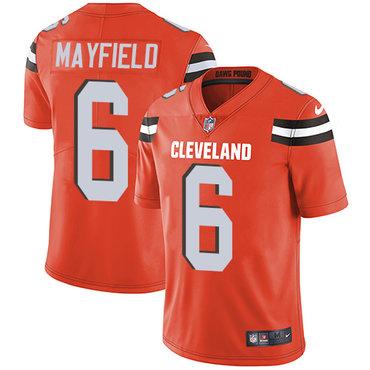 Nike Browns #6 Baker Mayfield Orange Alternate Youth Stitched NFL Vapor Untouchable Limited Jersey