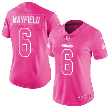 Nike Browns #6 Baker Mayfield Pink Women's Stitched NFL Limited Rush Fashion Jersey