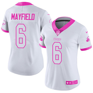 Nike Browns #6 Baker Mayfield White Pink Women's Stitched NFL Limited Rush Fashion Jersey