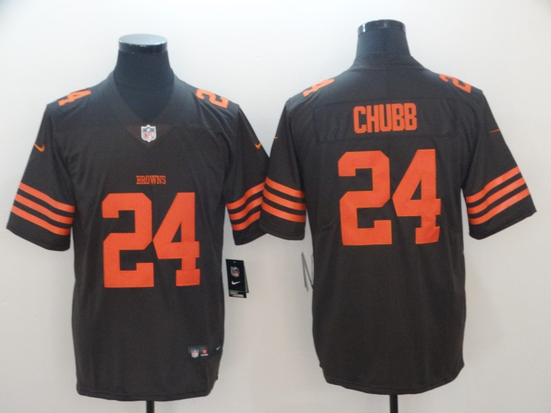 Nike Browns 24 Nick Chubb Brown Color Rush Limited Jersey