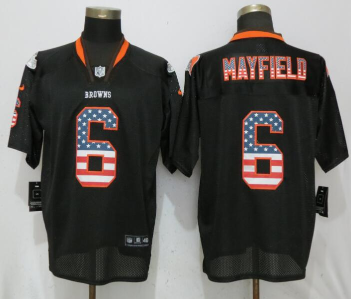 Nike Browns 6 Baker Mayfield Black USA Flag Fashion Elite Jersey