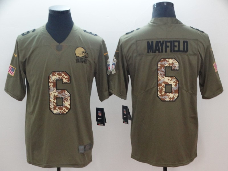 Nike Browns 6 Baker Mayfield Olive Camo Salute To Service Limited Jersey