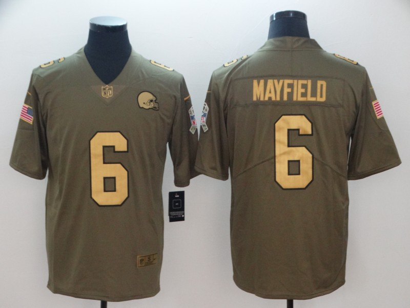 Nike Browns 6 Baker Mayfield Olive Gold Salute To Service Limited Jersey