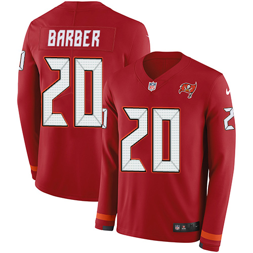Nike Buccaneers #20 Ronde Barber Red Team Color Men's Stitched NFL Limited Therma Long Sleeve Jersey