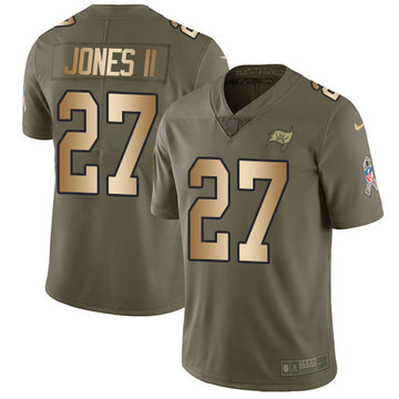 Nike Buccaneers #27 Ronald Jones II Olive Gold Men's Stitched NFL Limited 2017 Salute To Service Jersey