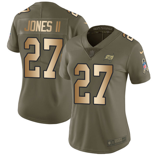 Nike Buccaneers #27 Ronald Jones II Olive Gold Women's Stitched NFL Limited 2017 Salute to Service Jersey