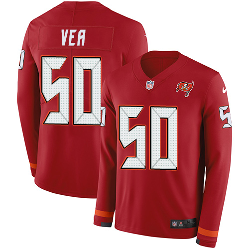 Nike Buccaneers #50 Vita Vea Red Team Color Men's Stitched NFL Limited Therma Long Sleeve Jersey