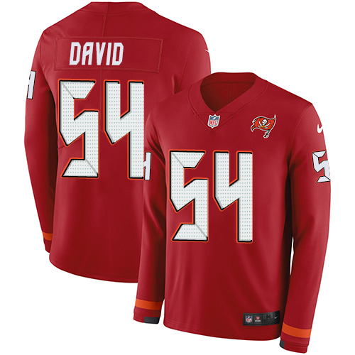 Nike Buccaneers #54 Lavonte David Red Team Color Men's Stitched NFL Limited Therma Long Sleeve Jersey