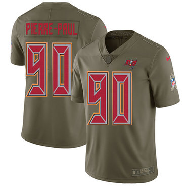 Nike Buccaneers #90 Jason Pierre-Paul Olive Youth Stitched NFL Limited 2017 Salute to Service Jersey
