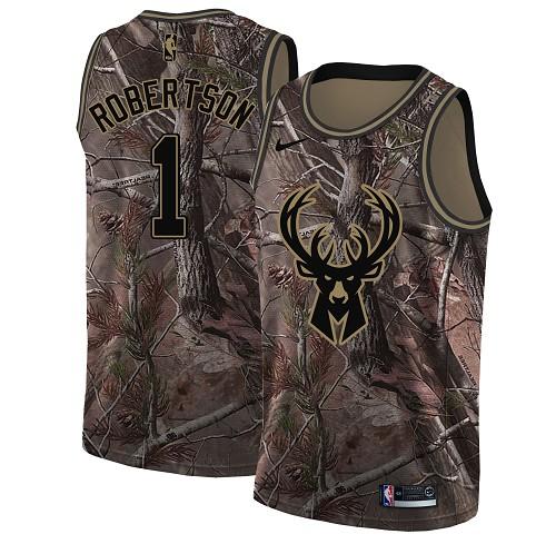 Nike Bucks #1 Oscar Robertson Camo Women's NBA Swingman Realtree Collection Jersey