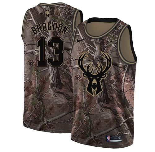 Nike Bucks #13 Malcolm Brogdon Camo Women's NBA Swingman Realtree Collection Jersey