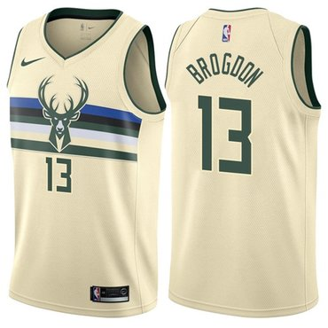 Nike Bucks #13 Malcolm Brogdon Cream NBA Swingman City Edition Jersey