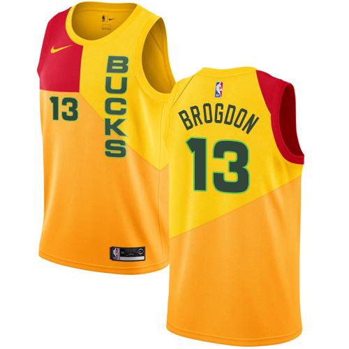 Nike Bucks #13 Malcolm Brogdon Yellow NBA Swingman City Edition 2018 19 Jersey