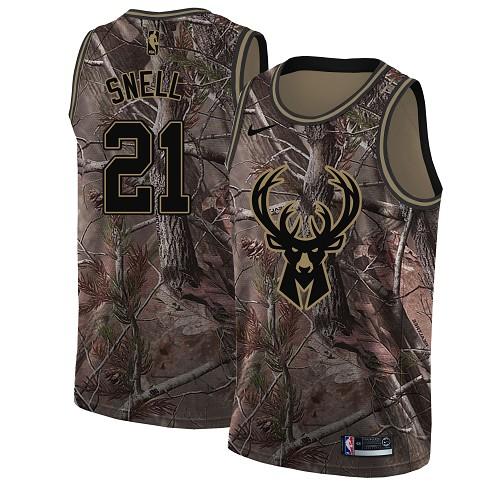 Nike Bucks #21 Tony Snell Camo Women's NBA Swingman Realtree Collection Jersey