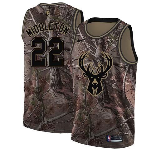 Nike Bucks #22 Khris Middleton Camo Women's NBA Swingman Realtree Collection Jersey