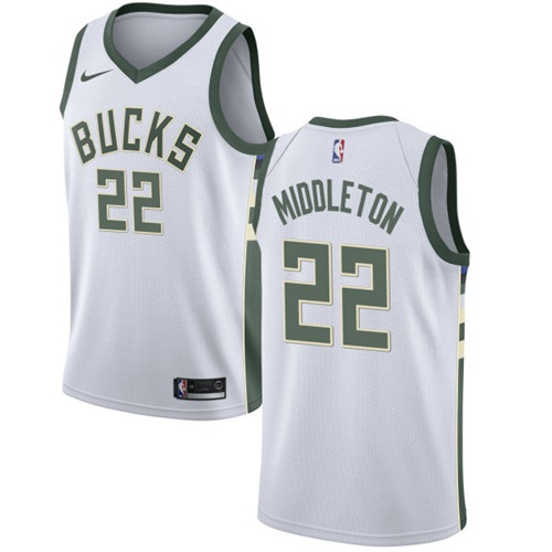 Nike Bucks #22 Khris Middleton White NBA Swingman Association Edition Jersey