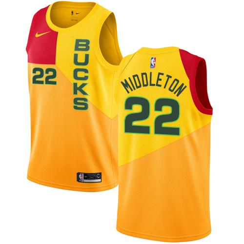 Nike Bucks #22 Khris Middleton Yellow NBA Swingman City Edition 2018 19 Jersey