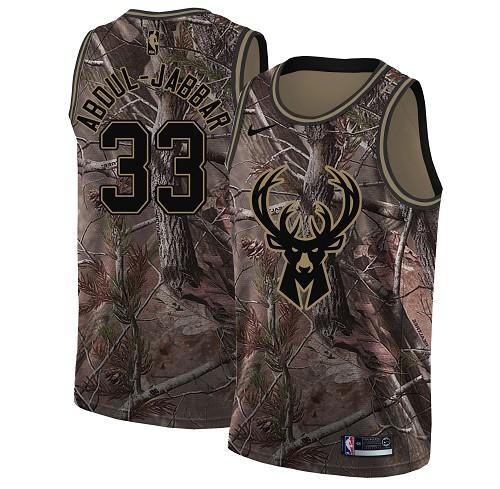 Nike Bucks #33 Kareem Abdul-Jabbar Camo Women's NBA Swingman Realtree Collection Jersey