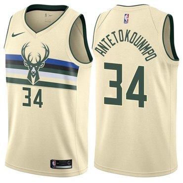 Nike Bucks #34 Giannis Antetokounmpo Cream NBA Swingman City Edition Jersey