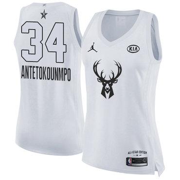 Nike Bucks #34 Giannis Antetokounmpo White Women's NBA Jordan Swingman 2018 All-Star Game Jersey
