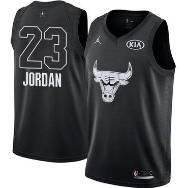 Nike Bulls #23 Michael Jordan Black NBA Jordan Swingman 2018 All-Star Game Jersey