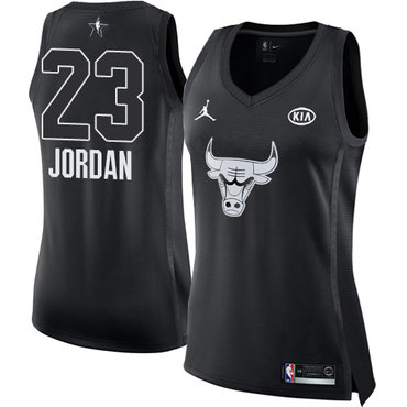Nike Bulls #23 Michael Jordan Black Women's NBA Jordan Swingman 2018 All-Star Game Jersey
