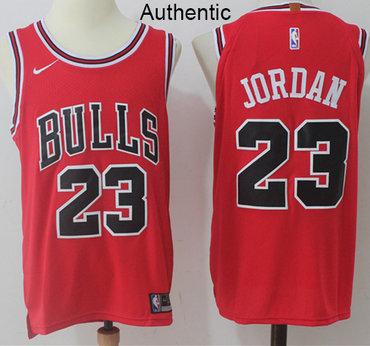 Nike Bulls #23 Michael Jordan Red NBA Authentic Icon Edition Jersey