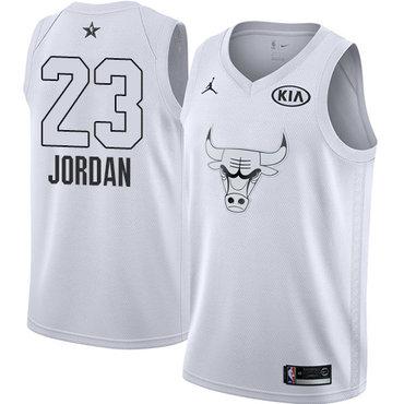 Nike Bulls #23 Michael Jordan White NBA Jordan Swingman 2018 All-Star Game Jersey