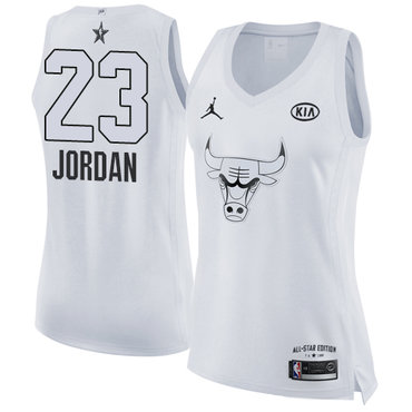 Nike Bulls #23 Michael Jordan White Women's NBA Jordan Swingman 2018 All-Star Game Jersey