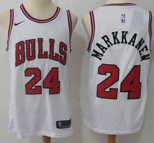 Nike Bulls #24 Lauri Markkanen White NBA Swingman Jersey