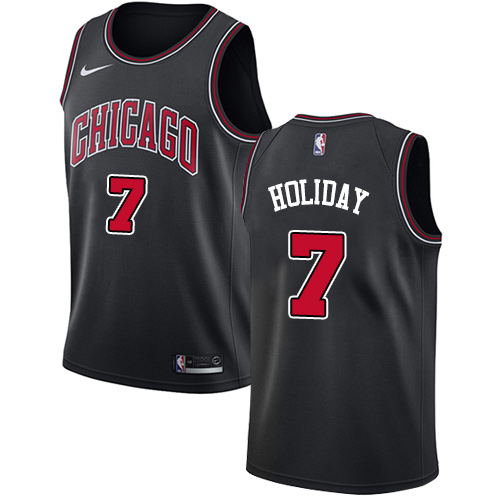 Nike Bulls #7 Justin Holiday Black NBA Swingman Statement Edition Jersey