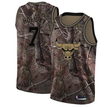 Nike Bulls #7 Justin Holiday Camo Women's NBA Swingman Realtree Collection Jersey