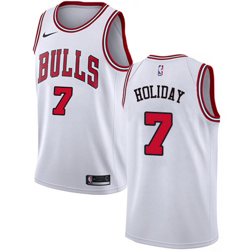 Nike Bulls #7 Justin Holiday White NBA Swingman Association Edition Jersey