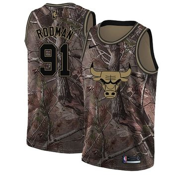 Nike Bulls #91 Dennis Rodman Camo Women's NBA Swingman Realtree Collection Jersey