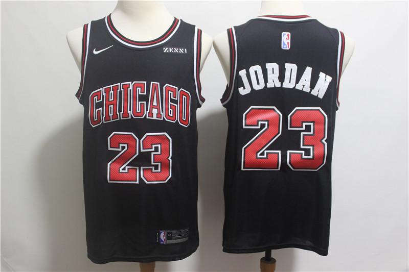 Nike Bulls 23 Michael Jordan Black Nike Swingman Jersey