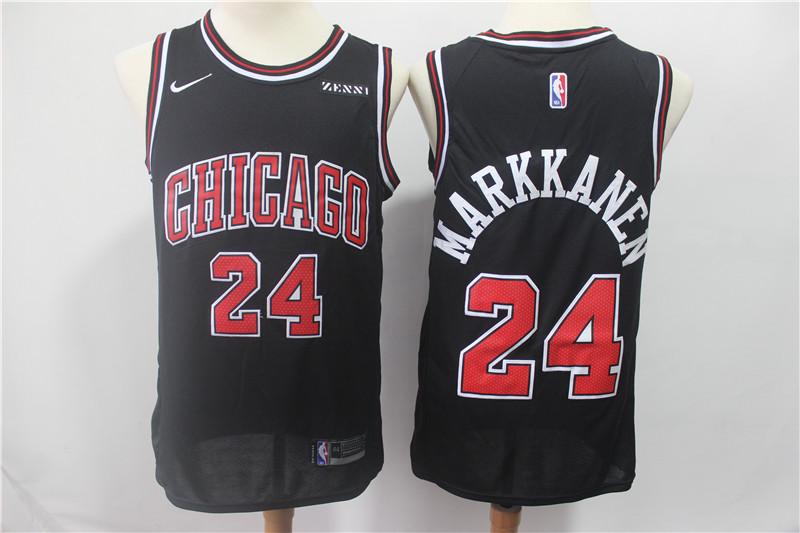 Nike Bulls 24 Laur Markkanen Black Nike Swingman Jersey