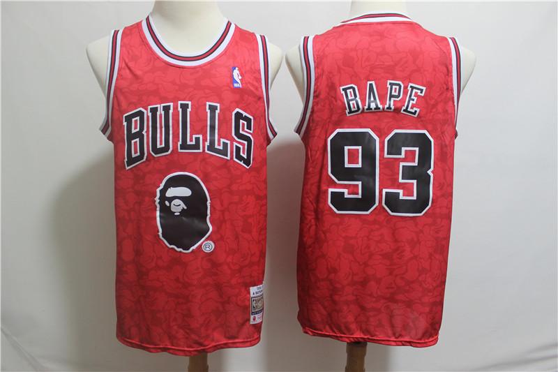 Nike Bulls 93 Bape Red Hardwood Classics Jersey