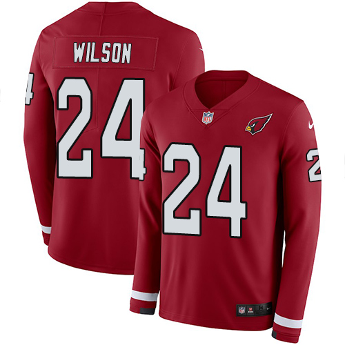 Nike Cardinals #24 Adrian Wilson Red Team Color Men's Stitched NFL Limited Therma Long Sleeve Jersey