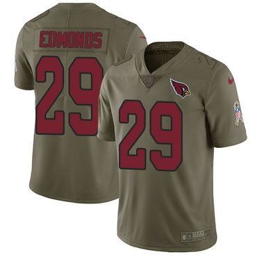 Nike Cardinals #29 Chase Edmonds Olive Men's Stitched NFL Limited 2017 Salute to Service Jersey
