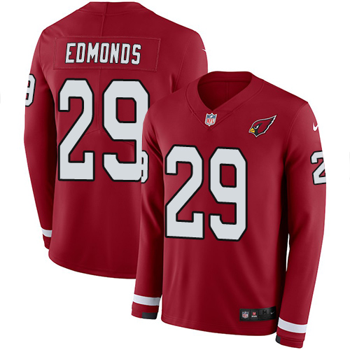 Nike Cardinals #29 Chase Edmonds Red Team Color Men's Stitched NFL Limited Therma Long Sleeve Jersey
