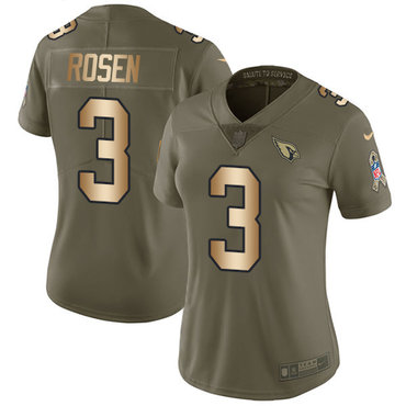 Nike Cardinals #3 Josh Rosen Olive Gold Women's Stitched NFL Limited 2017 Salute to Service Jersey