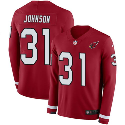 Nike Cardinals #31 David Johnson Red Team Color Men's Stitched NFL Limited Therma Long Sleeve Jersey