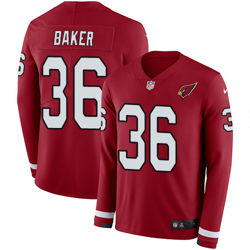 Nike Cardinals #36 Budda Baker Red Team Color Men's Stitched NFL Limited Therma Long Sleeve Jersey